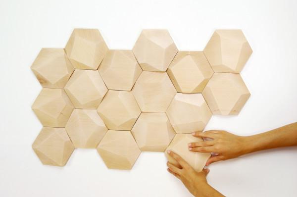 Geometric Wooden Wall Tiles by Monoculo Design Studio