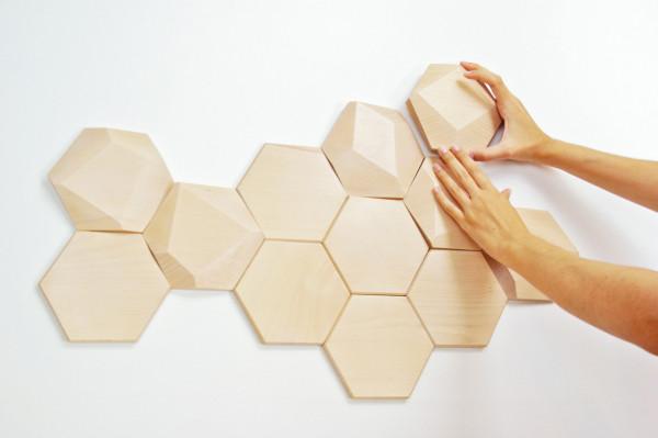 Wood Wall Design geometric wooden wall tilesmonoculo design studio - design milk
