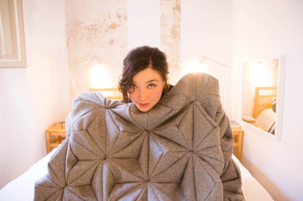 A Wool Blanket Inspired by Origami