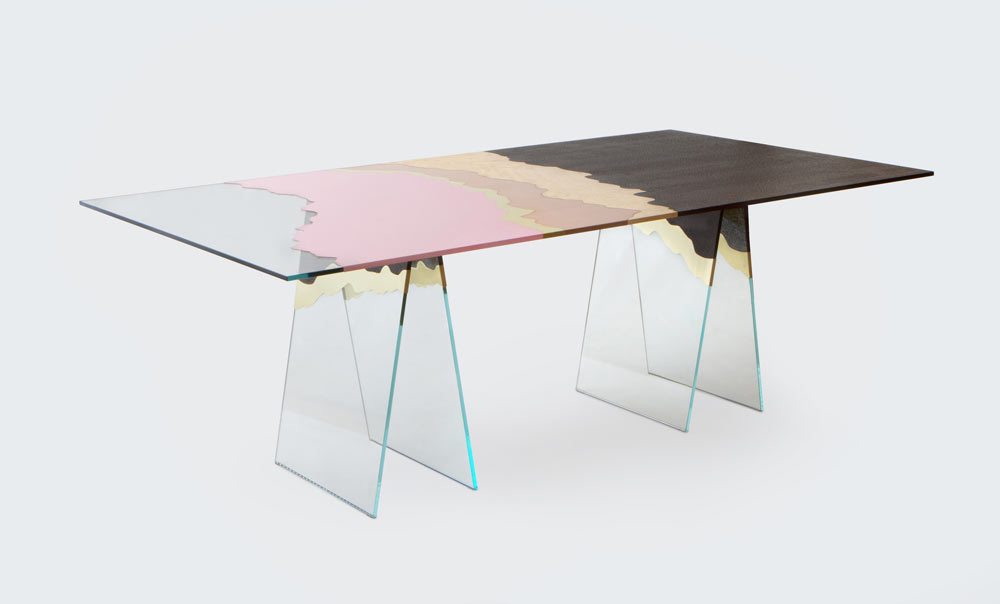 Table de Milàn - Ultra-white glass table with brass, copper, plastic laminates and wood.