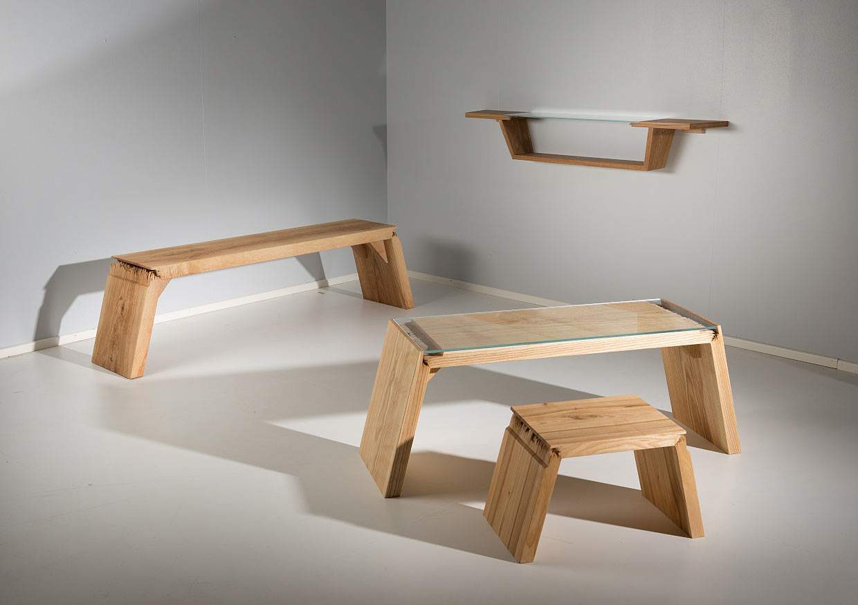 Broken furniture that explores the defects in wood for Wooden furniture design
