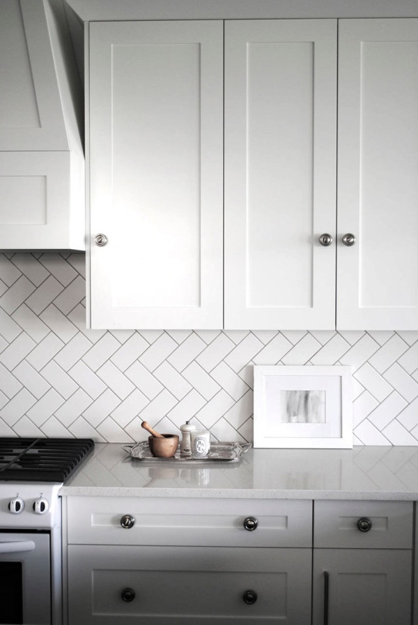 Creative Kitchen Backsplash Herringbone White