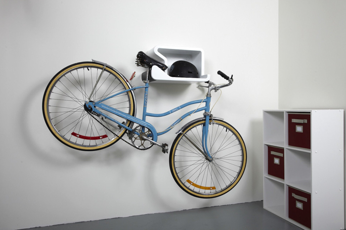 Shelfie Bike Rack Also Holds Your Helmet Design Milk