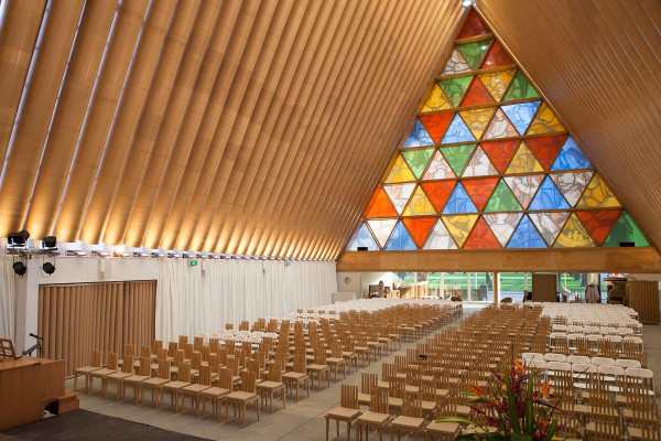 Shigeru Ban's Cardboard Cathedral in New Zealand in main interior design architecture  Category
