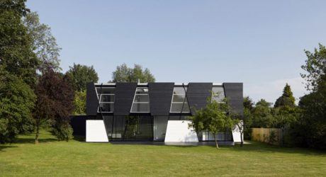 A Black & White House with Geometric Details