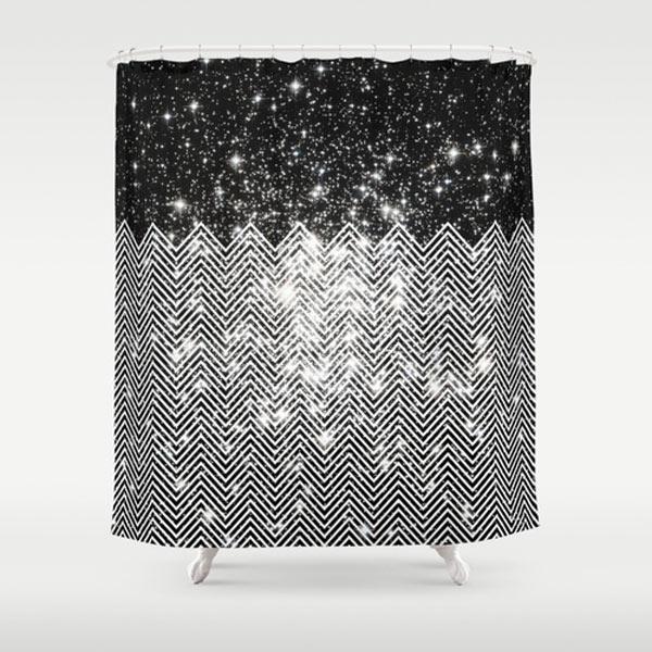 Chevron Black White Shower Curtain