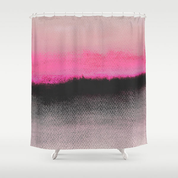 Double Horizon Pink Black Shower Curtain