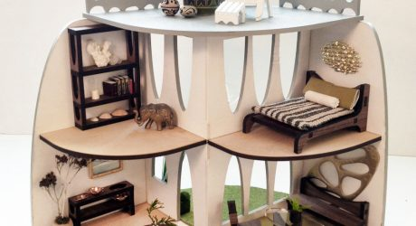Sustainable Mid-Century Modern Dollhouse and Matching Furniture