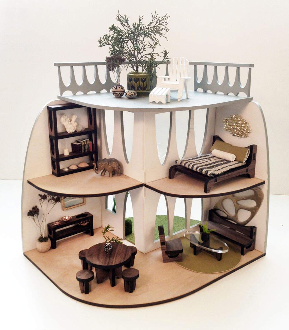 Sustainable mid century modern dollhouse and matching furniture