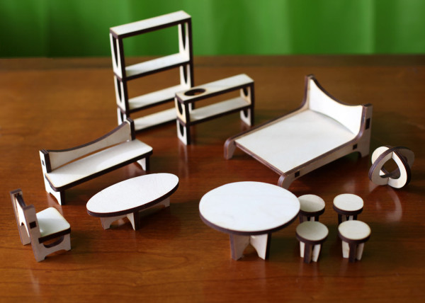 furniture set here and the walnut clear acrylic details furniture