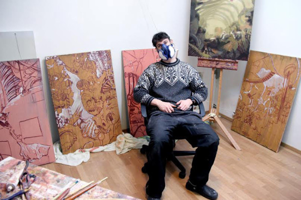 Nicholas and his paintings in progress
