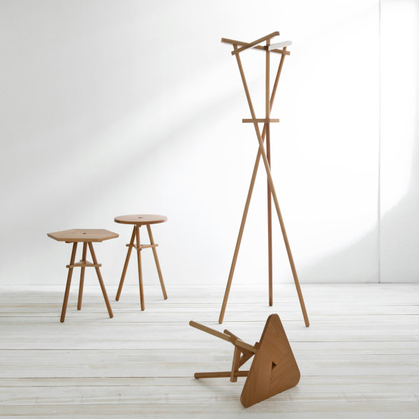 36 side tables and coat rack