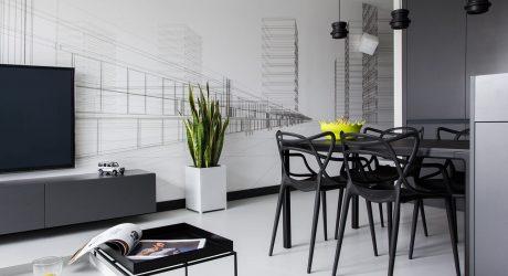A Modern, Black & White Apartment in Poland