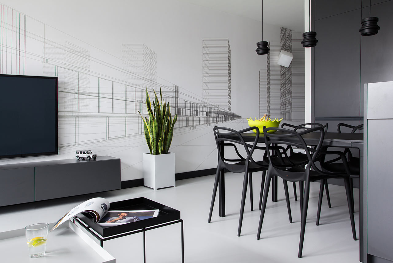 a modern, black & white apartment in poland - design milk