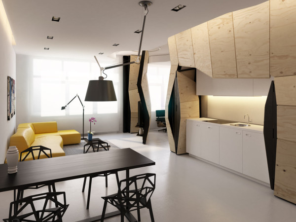 Transforming Apartment Maximizes Small Space in main interior design architecture  Category