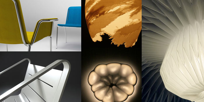 Art Center College of Design Student work (clockwise from upper L): Chairs for ATU by Youmin Kim; AHA 3D Printed Light by May Liu, Shingo Mamiya & Taizo Suzuki; OriAkari Light by Scott Lee & Hayato Saito; Slice Light by Jenny Chen; Harbor Chair by Brandon Ki