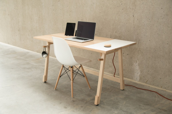 A Minimalist Desk that Hides All Your Cords