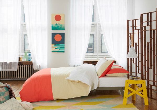 Color Block Duvet Set in Salmon