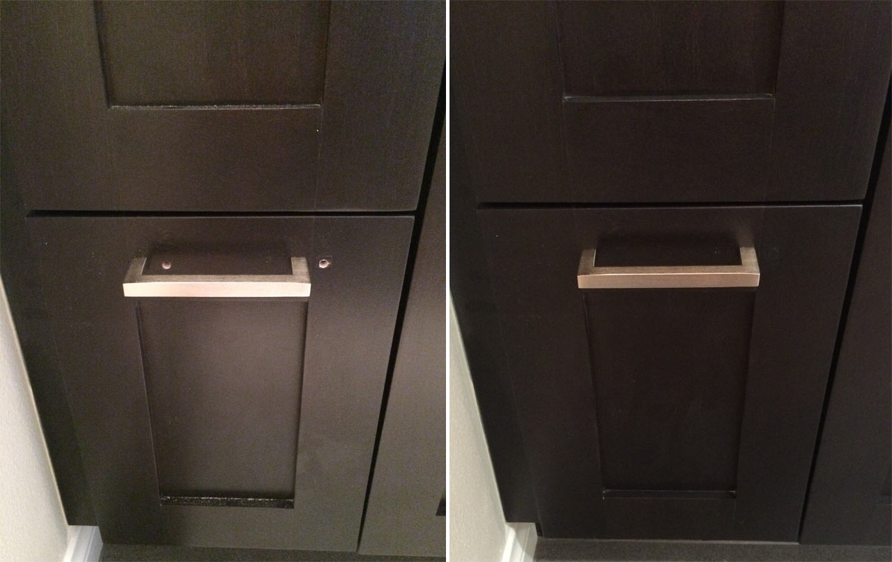 Before and after drawer drill hole repair