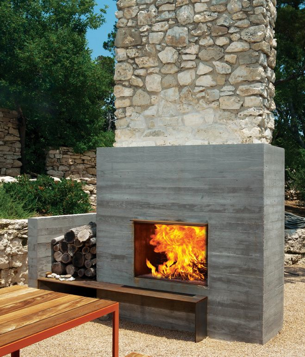 12 amazing modern outdoor fireplaces design milk for Outside fireplace plans