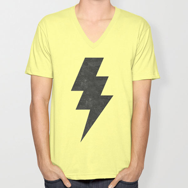 s6-lightening-strike-yellow-v-neck-tshirt