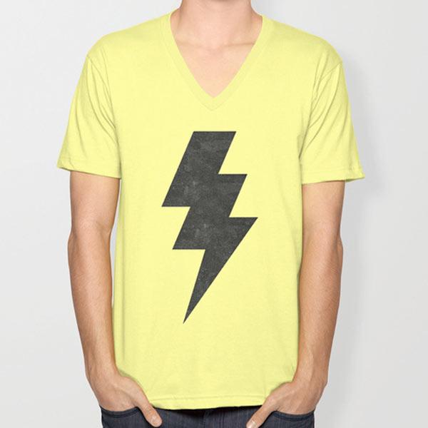 s6-lightening-strike-yellow-v-neck-tshirt