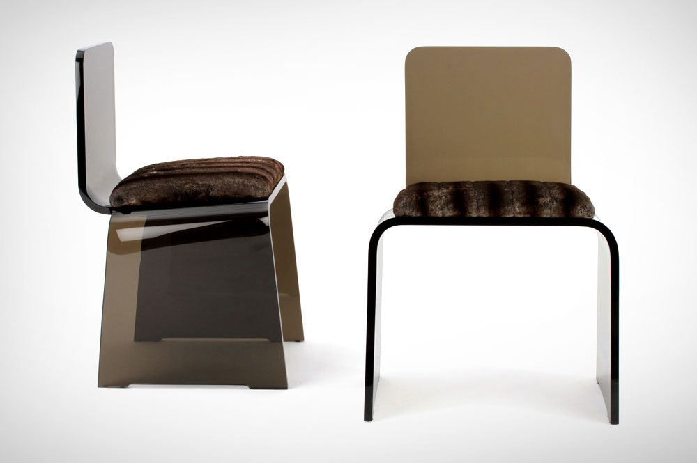 Smoke bronze acrylic chairs for Designlush / DIFFA