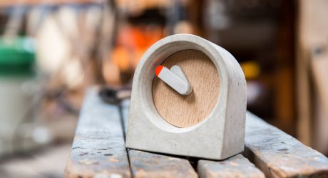 A Table Clock Made from Concrete and Oak Veneer