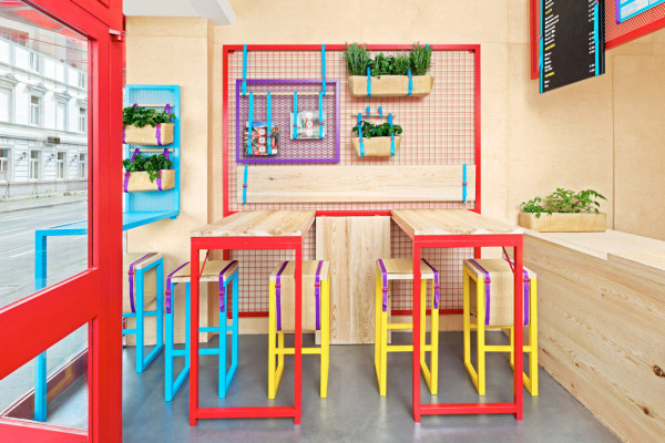 Bright colorful restaurant with branding to match