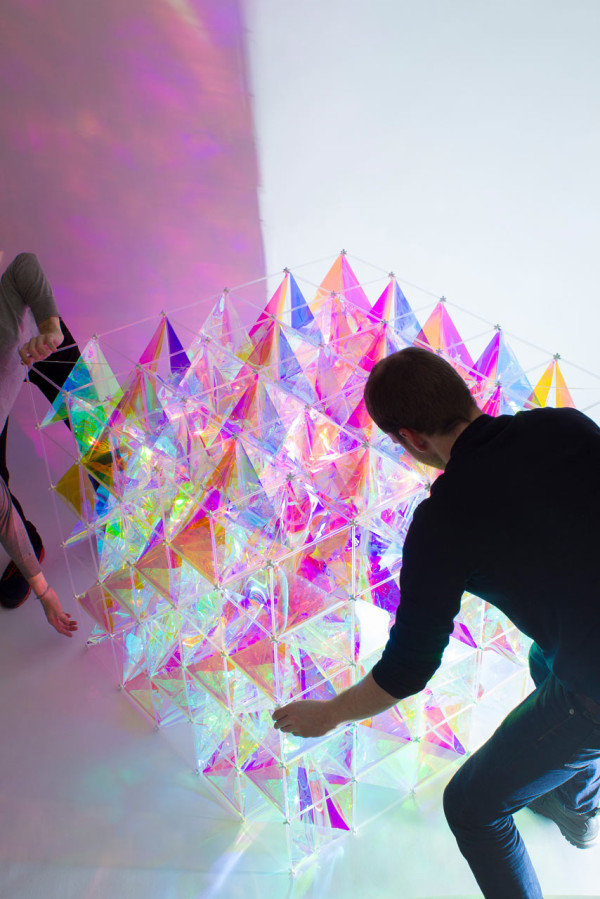 an iridescent kite made from 3m u2122 dichroic glass finishes