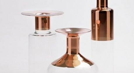 Tapio: Glass Vases with Copper Accents