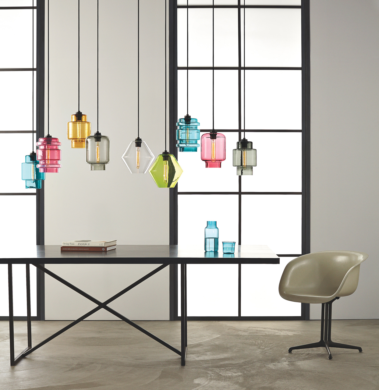 Modern colored glass pendant lamps light up the room design milk the crystalline series by niche modern mozeypictures Images