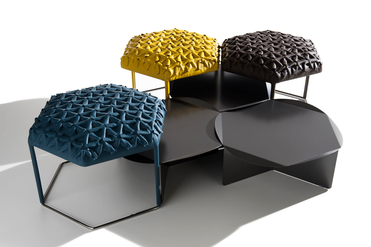 Hive: Leather Patches Create 3D Upholstery Textiles - Design Milk