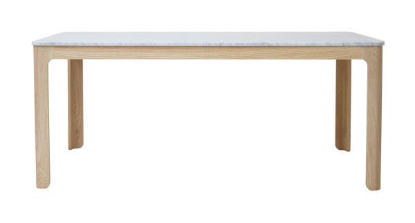 Cooper Dining Table - American Ash, Carrara Marble, Natural Hardwax Oil finish