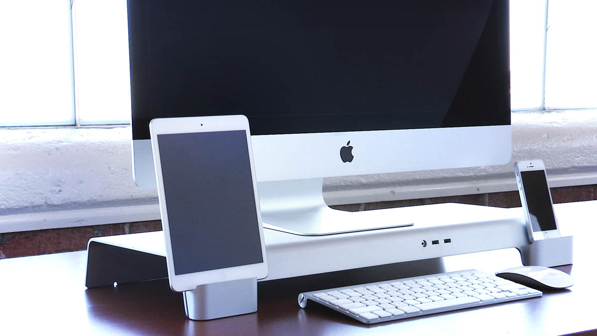 a multifunctional imac stand for all your desktop needs. Black Bedroom Furniture Sets. Home Design Ideas