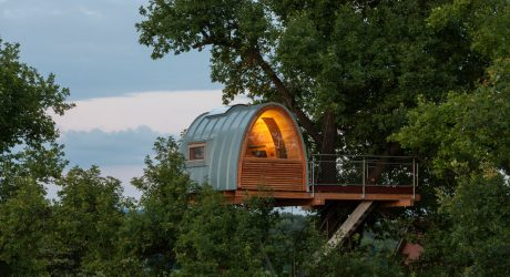 A Modern Treehouse Built Around an Oak Tree
