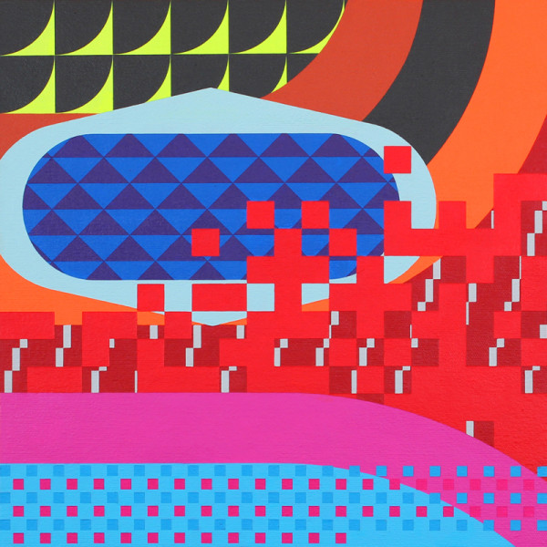 The Future, Multiplied by Today / 2012 / Acrylic on panel-mounted canvas / 12 inches square