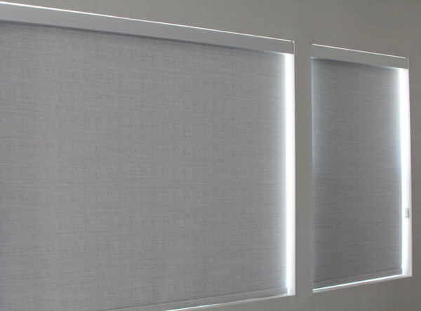 Anodized aluminum finish fascia with silver pearl Brunswick opaque designer roller shade