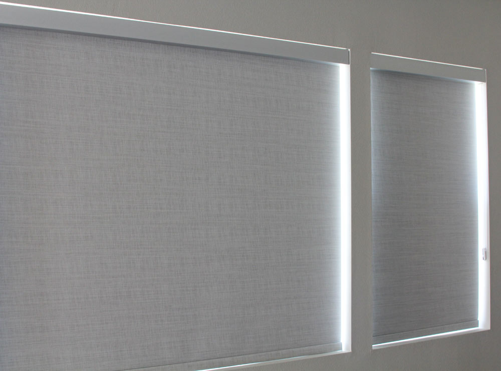 Anodized aluminum finish fascia with silver pearl Brunswick opaque designer roller shade