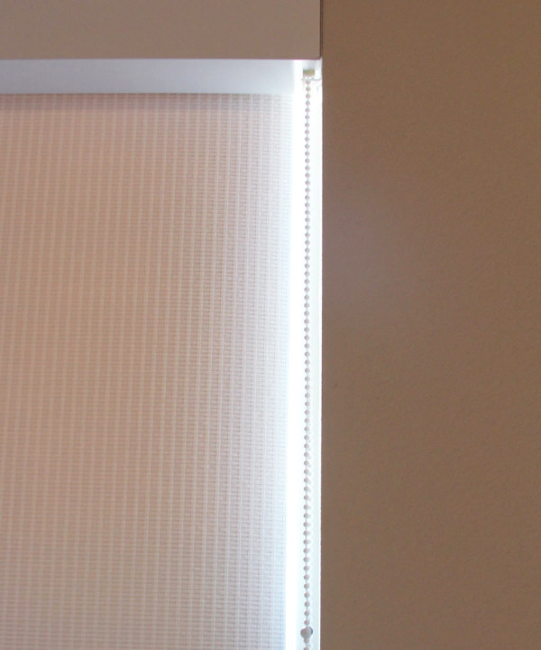 Love the white woven shade fabric I chose for my office.