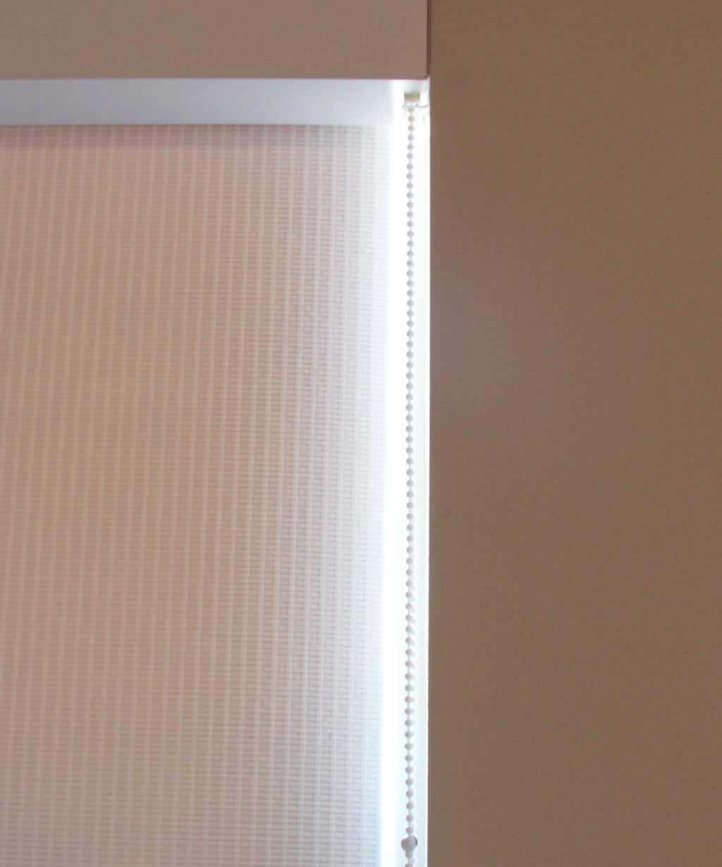 Love the white woven shade fabric I chose for my office, called Fiji.