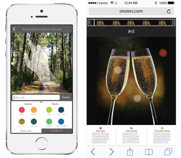 The oPhone DUO iOS app, oSnap, combines a camera app with a scent formulation and tagging system. Specific areas of a photo can be tagged with a matching aroma, similar to tagging faces on Instagram.