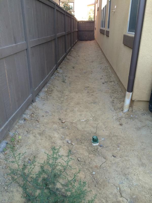 Backyard side yard wasted space (before)