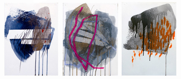 """Places We Know #1-#3, mixed media on paper 18"""" x 12"""""""
