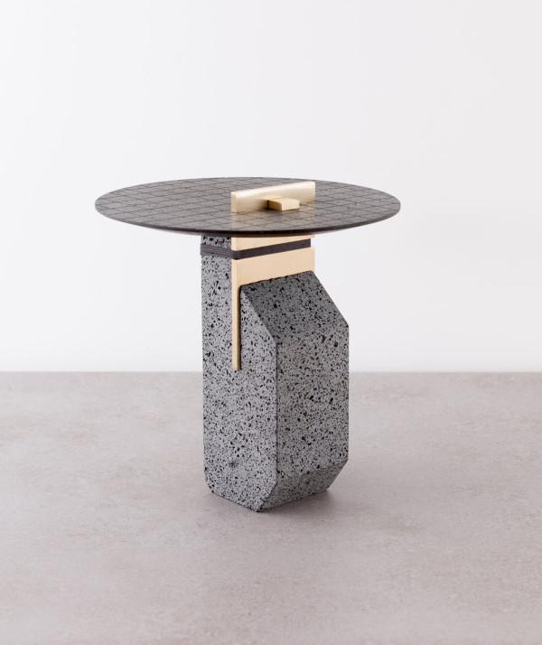 Name of work : Small Pillar Materials: Basalt, Occhio di pernice basalt, brass, textile Dimensions: 35X35Xh50 cm