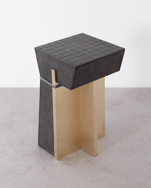1614 Materials: Basalt, textile, brass Dimensions: 30X30Xh60 cm