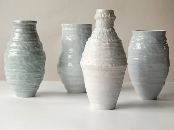 Artist Jonathan Keep's 3D printed clay pottery are inspired by patterns and forms evident in nature, including icebergs, petrified wood, seeds, and even sound waves (shown above).