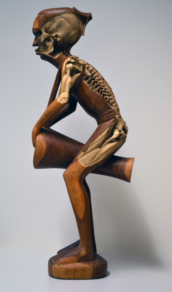 Souvenir Skelton, 2014. (re-)carved African drummer figure