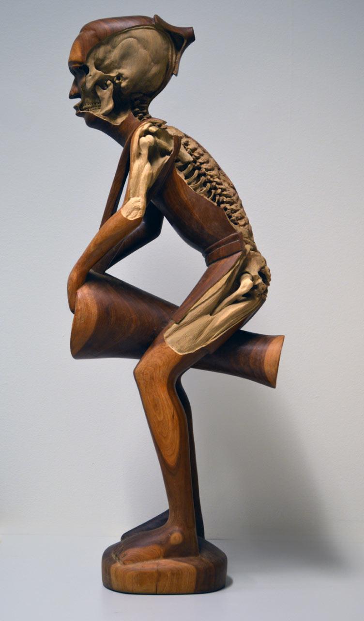 Souvenir Skelton, 2014. (re-)carved African drummer figure