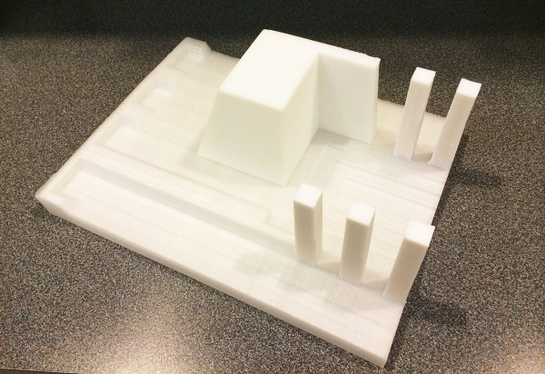 An overall view of a partial mold 3D printed using Acrylonitrile Butadiene Styrene (ABS).